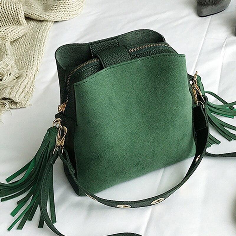Moda scrub feminina balde saco do mensageiro do vintage borla bolsa de ombro retro de alta qualidade simples crossbody saco tote