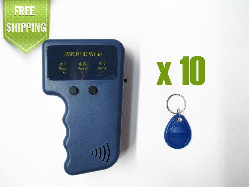 Lector de RFID escritor 125KHz ID tarjeta mando a distancia duplicador duplicado/copia sistema de puerta + 10 EM4305 Key Fobs