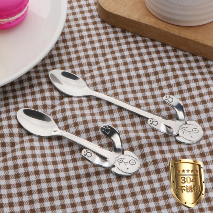 Cuchara de café de acero inoxidable, Mini cuchara para té de perro, cuchara portátil con mango largo, cuchara colgante, cuchara mezcladora de miel, cuchara de cocina, utensilios planos