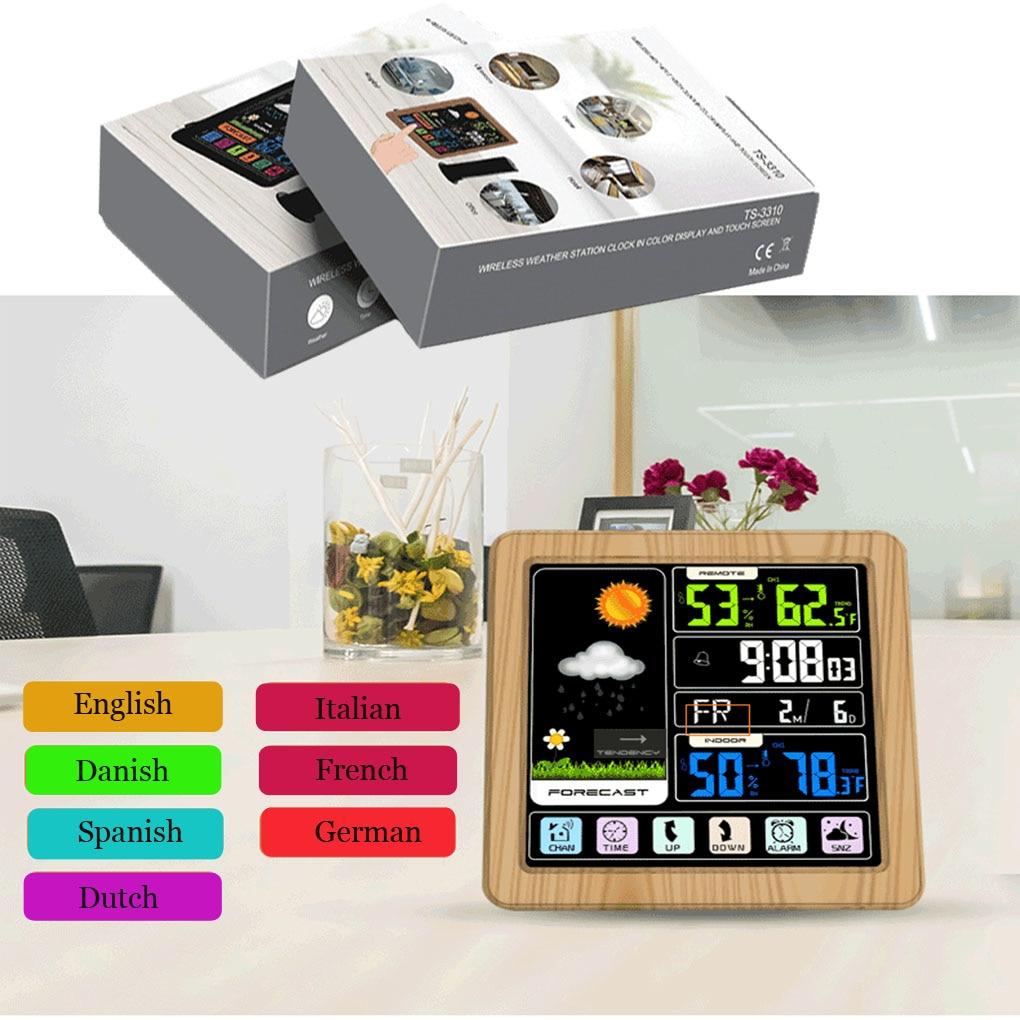 TS-3310 reloj meteorológico inalámbrico de Color Touchh para interiores y exteriores medidor de temperatura y humedad compatible con siete idiomas