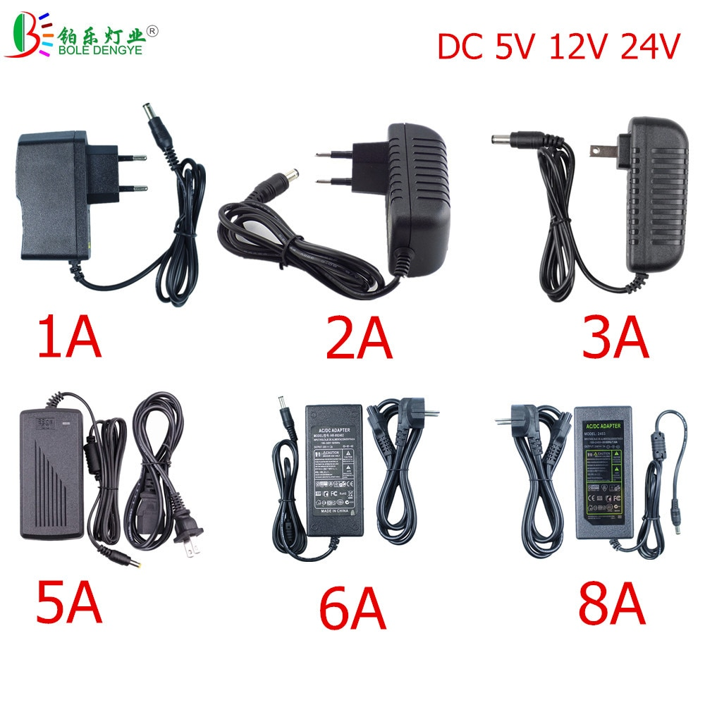 LED Power Adapter 5.5*2.1~2.5mm Female Connector AC 110V 220V To DC 12V 24V 5V Lighting Transformer