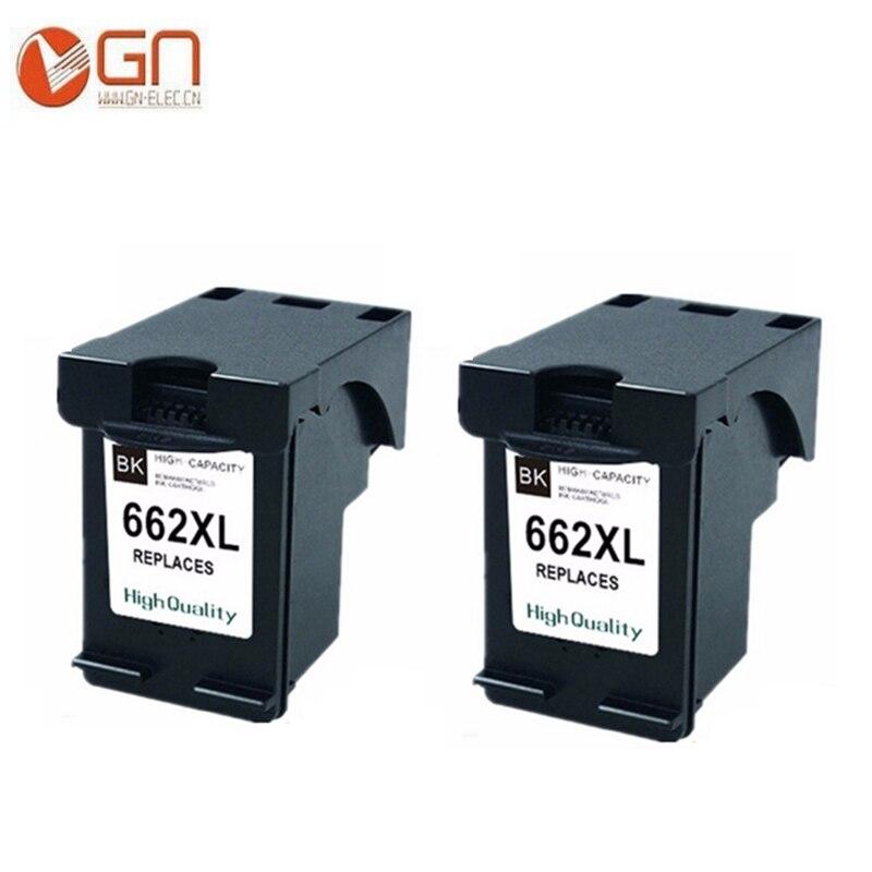 GN 2BK 662XL cartucho de tinta remanufacturada de repuesto para HP 662 XL para Deskjet serie 1015, 1515, 2515, 2545, 2645, 3515, 3545 4510, 4515