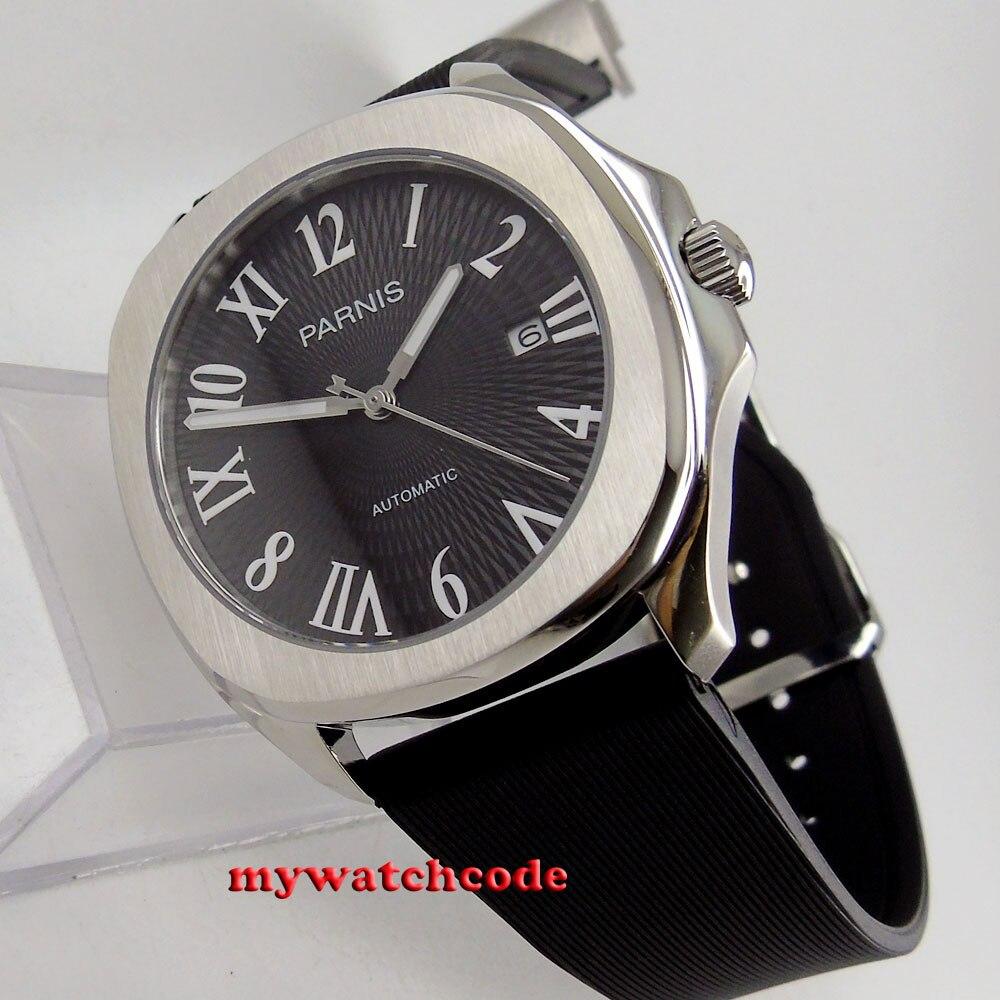 40mm Parnis cadran noir date verre saphir mis5 821A montre automatique pour hommes P893