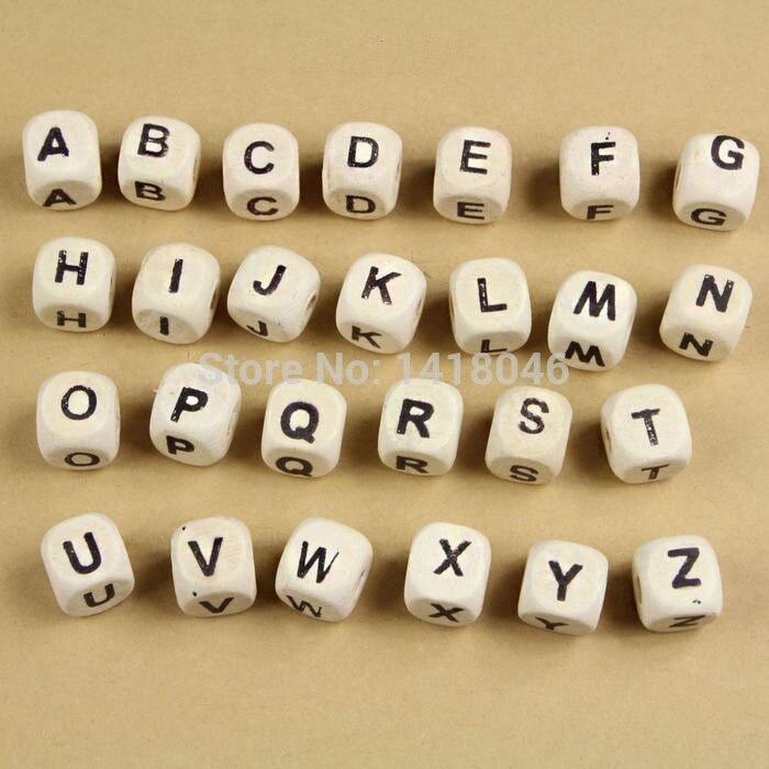 Cubo de madera natural letra y alfabeto espaciador cuentas sueltas para fabricación de joyería DIY 8mm 200 Uds MT1033-8
