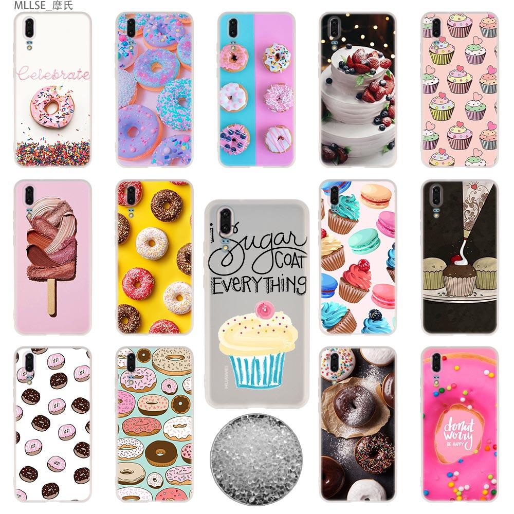 Saboroso copo bolo donuts sobremesa tpu capa casos de telefone macio para huawei p40 p30 p20 pro p10 plus p9 p8 lite 2017 samrt z 2019