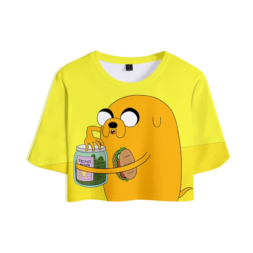 Adventure Time 3D traje Sexy Rocío vientre camiseta nuevo estilo Sexy Lumbar corto camiseta Color traje de moda crop top XXL