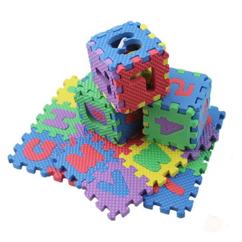 36pcs/Set Mini Children Alphabet Letters Numerals Puzzle Colorful Kids Rug Play Mat Soft Floor Crawling Mat Kids Educational Toy