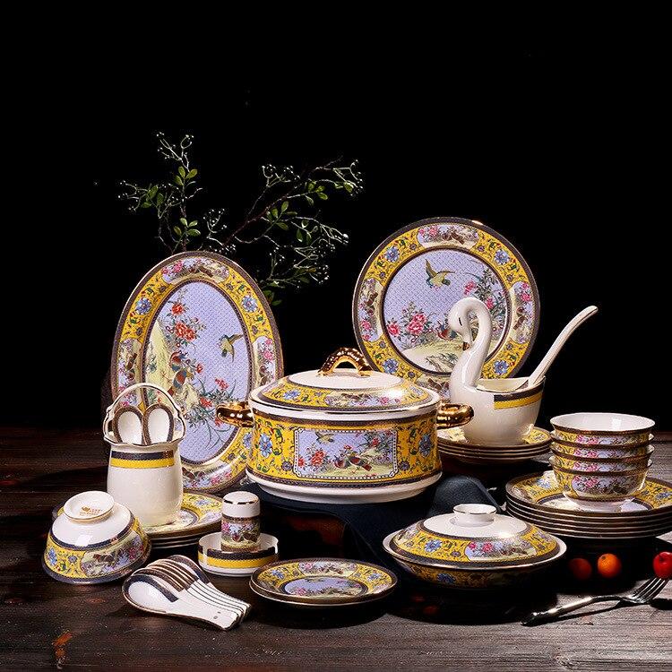 Vajilla china de hueso de alta calidad GUCI Jingdezhen, vajilla china con diseño de Paloma antigua, vajilla de cerámica