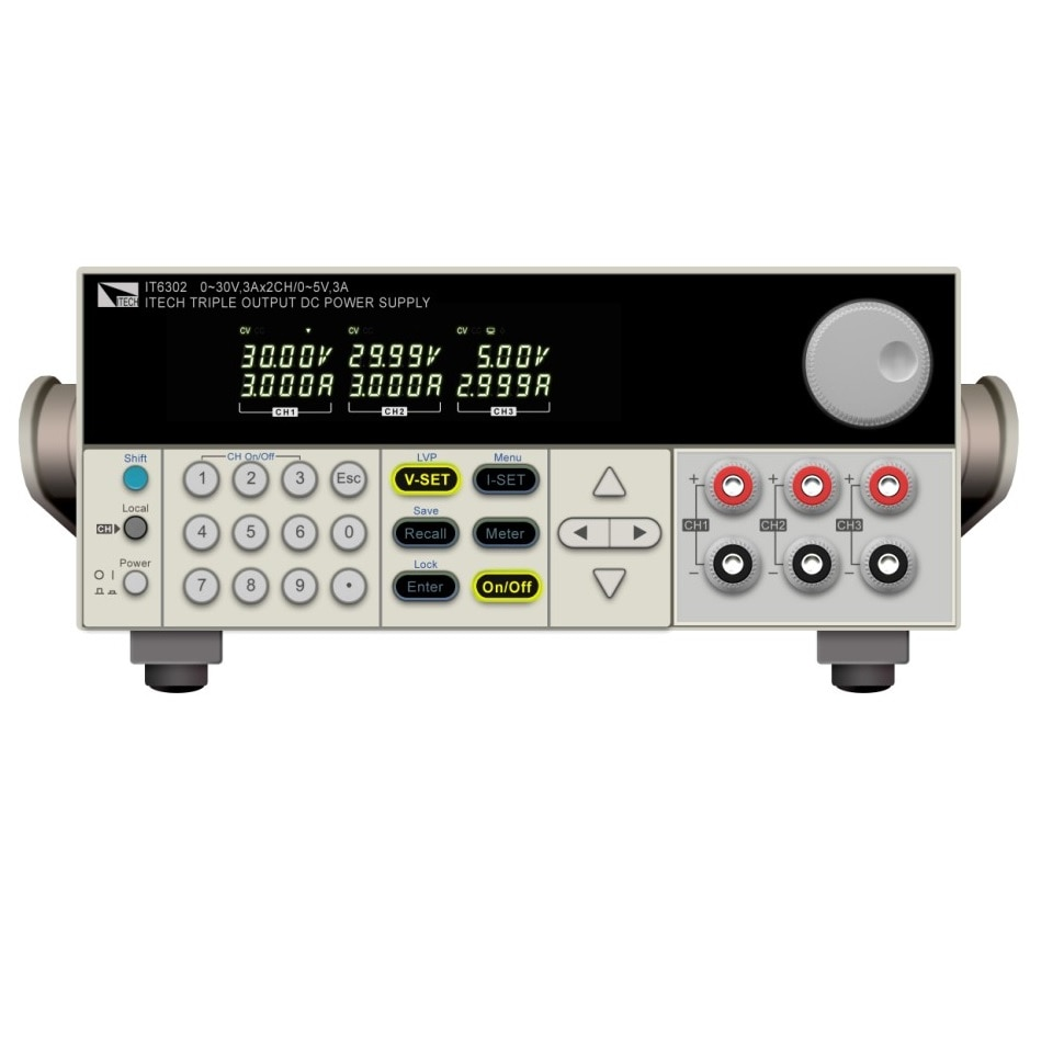ITECH IT6302 3 canales de alimentación DC programable 30V/3A/90W * 2CH y 5V/3A/15W * 1CH