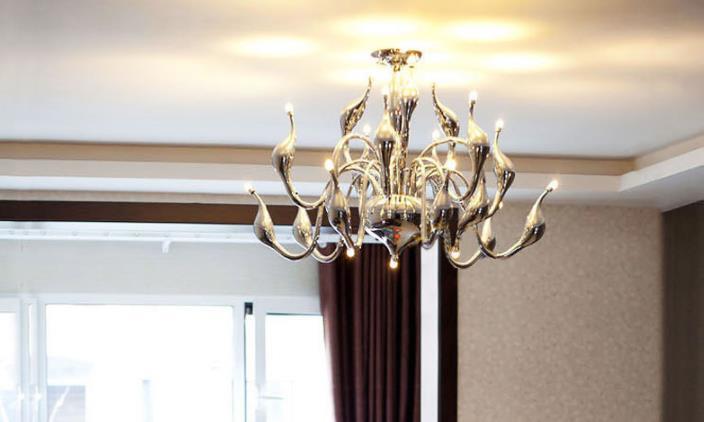 LED G4 120W Swan Design Chandelier 12 Light, Creative Golden Metal Electroplating 110-240v  - buy with discount