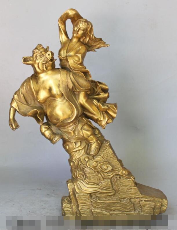 "S01398 18 ""China Bronce Mitología Mariscal Feliz Zhu BaJie Chu Pa-chieh Esposa Belle Estatua"