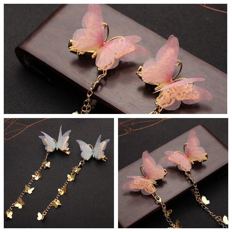 1 par de tiernas hebillas de mariposa para el pelo, accesorios para el cabello, regalo para mujer KYY8551
