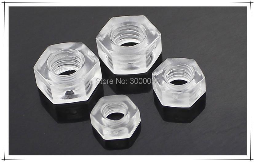 M3 M4 M5 M6 Plastic Acryl Noten Isolatie Polycarbonaat Moer PC Transparante Hexagon Noten 1000 stks/partij