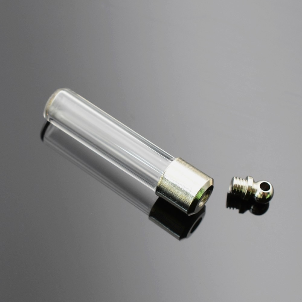 50 piezas tapa de tornillo 36,5*6mm Tubo inferior plano nombre en arroz arte cristal colgante de frasco mini botella de vidrio fabricación de joyería de colgantes compon