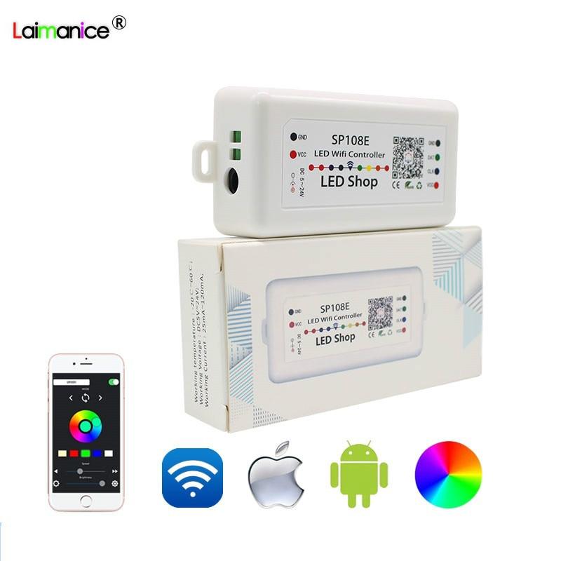 Controlador WIFI mágico SP105E SP108E Bluetooth DC5V-24V 2048 píxeles para WS2811 WS2812B 2801 6803 IC tira LED IOS aplicación Android