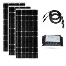 Panneau solaire 12v 100w 3 pièces Modules solaires 300w contrôleur de Charge solaire 12 v/24 v 20A PV câble RV hors réseau camping-Car caravane voiture