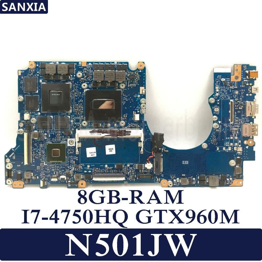 KEFU N501JW Laptop motherboard para ASUS N501JW N501J G501JW G501J UX50JW mainboard original 100% Teste 8G-RAM I7-CPU GTX960M