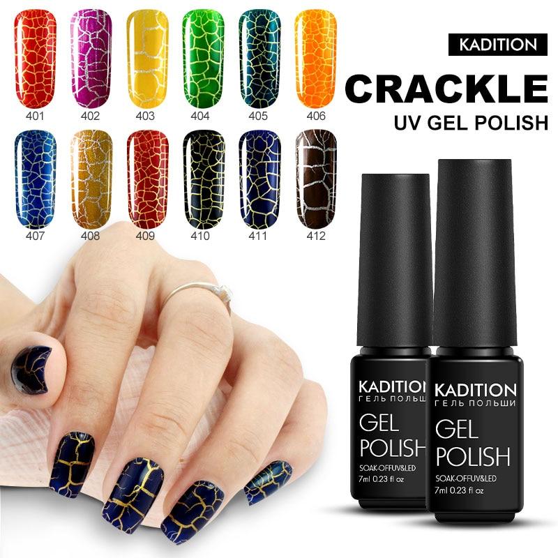 KADITION New Crack Nail Gel Lacquer Lucky 12 Color Soak Off Long Lasting Crackle UV Gel Nail Polish LED Nail Art Gel Varnish