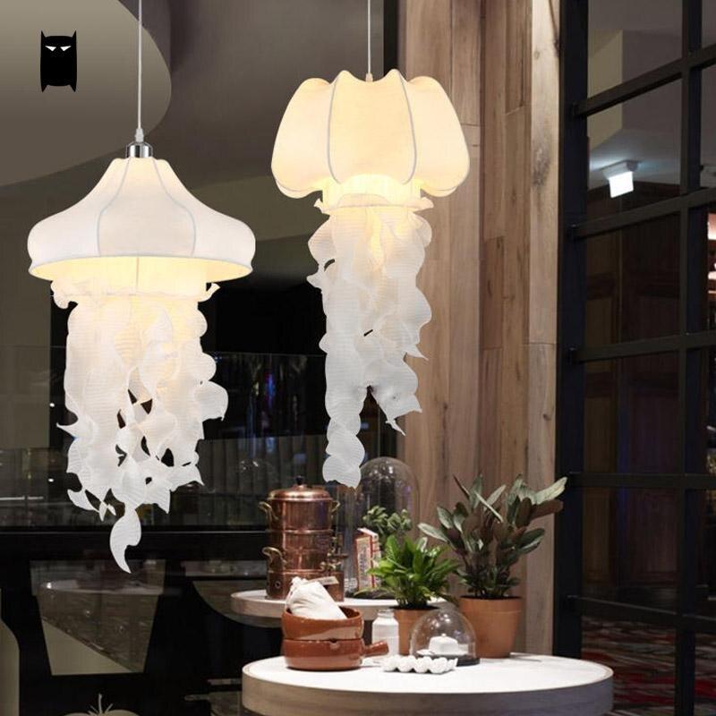Tela de seda blanca, colgante de Medusa, accesorio de cordón de luz, decoración de arte rústico nórdico, lámpara colgante creativa romántica, Luminaria