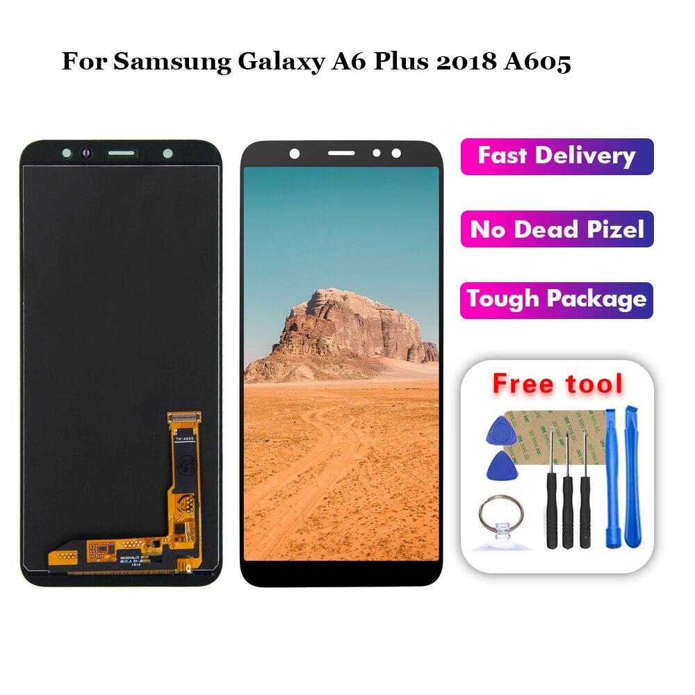 Para Samsung Galaxy A6 Plus 2018 A605 A605F A605FN pantalla LCD montaje de pantalla táctil