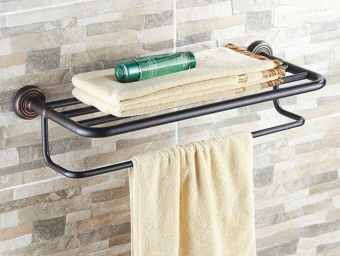 Bathroom Accessories Black Oil Rubbed Bronze Wall Mounted Bathroom towel racks towel bar Shelf Holder aba120