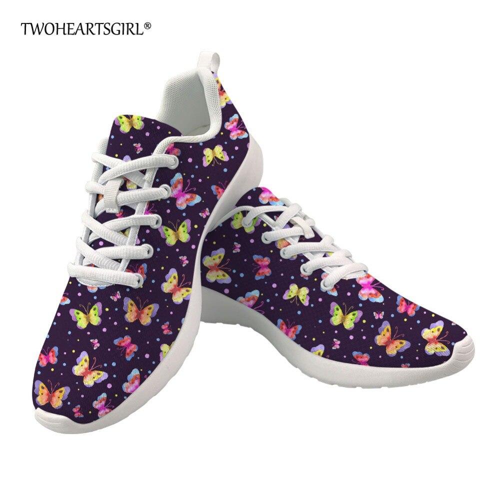 Twoheartsgirl-zapatos informales con diseño de mariposa para mujer, zapatillas planas de malla...