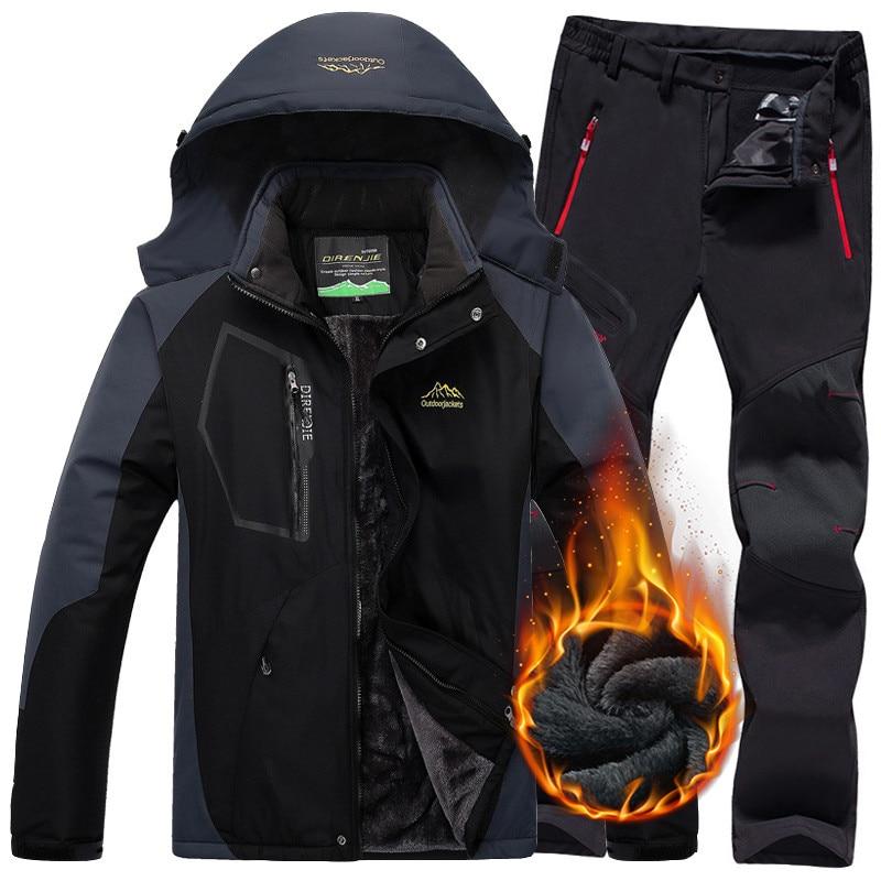 Homens inverno jaqueta à prova dwaterproof água calças trekking caminhadas acampamento ski snowboard jaquetas ao ar livre lã térmica ternos de esqui para homem