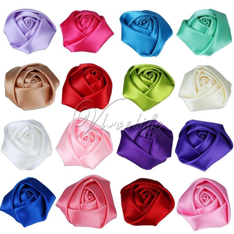 50 unids/lote Mini 4CM Rosa de satén cabeza de flor de roseta para niña bebé cabeza de niños diademas para vestir accesorios DIY decoración de fiesta accesorios de foto