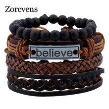 ZORCVENS Echt Lederen Armbanden voor Mannelijke Vriendschap Geloof Armband Kralen Braclet Vrouwen Braslet Mannen Pulseras