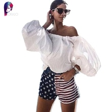 Ropa Mujer Women Tops 2016 Summer Style Women Blouses Lantern Sleeve Off Shoulder Loose Cotton Female Blusas Feminina Plus Size