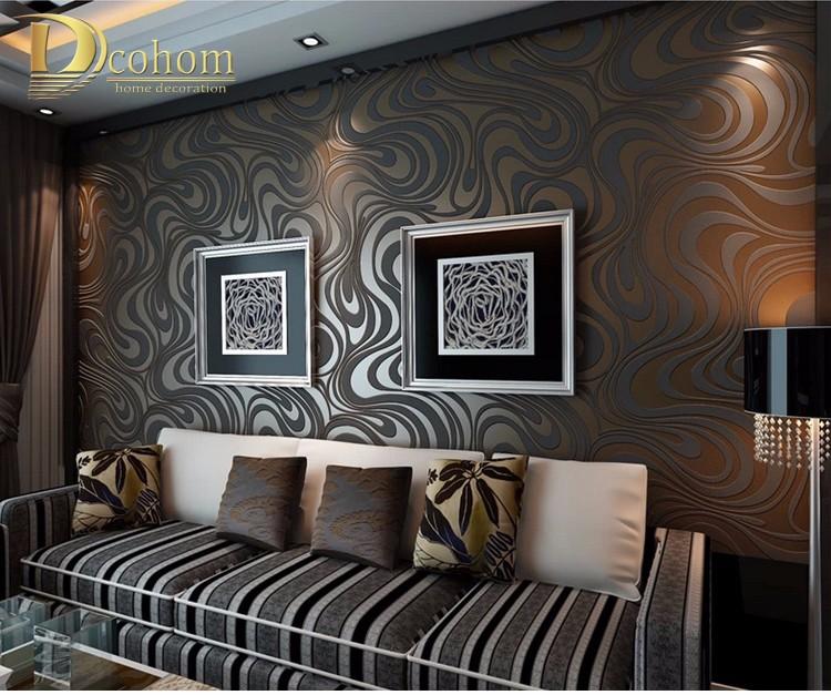 Wysokiej jakości 0.7 m * 8.4 m nowoczesny luksus 3d tapety rolki mural papel de parede uciekają na paski ściany papier 5 kolor r136 12
