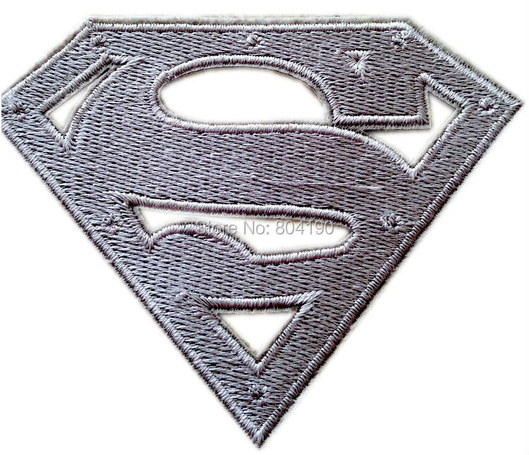 "Logo de 4 ""Superman S en pecho troquelado de Metal, uniforme plata, Logo animado, disfraz de serie de televisión o película, aplique bordado, parche para planchar"