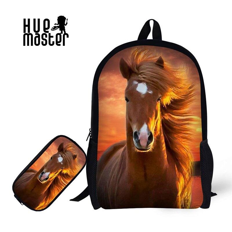 Детский Школьный рюкзак с футляром для карандашей, школьные сумки с принтом «Лошадка» для мальчиков и девочек, школьная сумка + Сумка-карандаш, комбинация для обучения