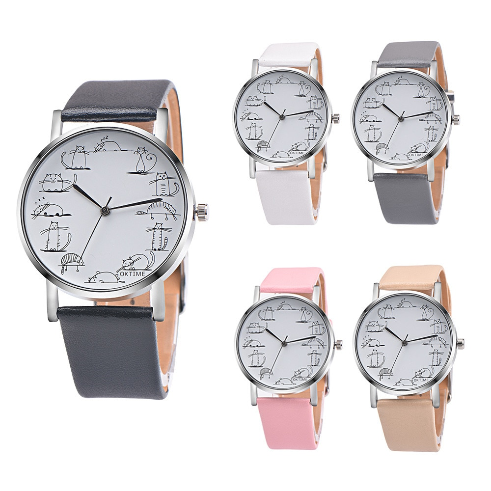Retro Design Lovely Cartoon Cat Leather Band Analog Alloy Quartz Wrist Watch montre homme wristwatch men heren horloge W