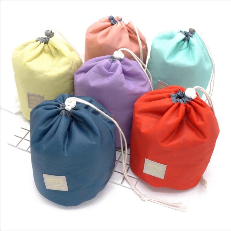Bolsa plegable con cordón ajustable en forma de barril, bolsa de viaje para maquillaje y cosméticos, organizador para cuarto de baño, bolsa portátil de viaje impermeable wd02