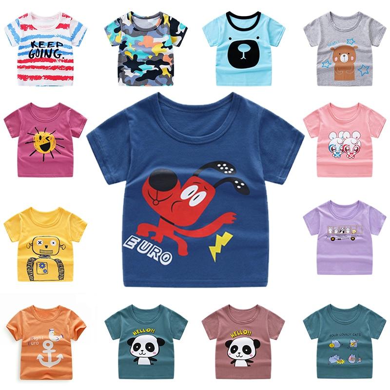 Summer Kids Boys T Shirt Crown Print Short Sleeve Baby Girls T-shirts Cotton Children T-shirt O-neck Tee Top Boy Clothes DX-BS10 недорого