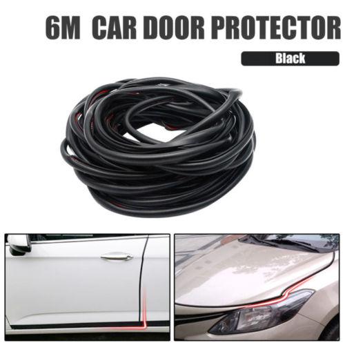 Protector de ajuste de Borde de puerta de coche negro perfil U 6M rollo moldura tira de ajuste
