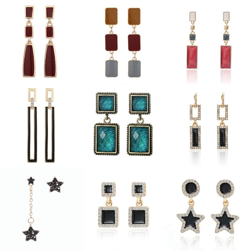 Boucles doreilles géométrie goutte pour femmes bijoux boucles doreilles carré cinq étoiles pointues ensemble de boucles doreilles en métal de mode de forage