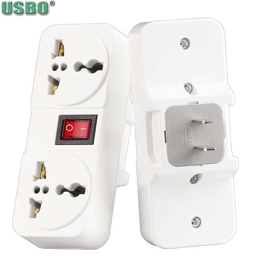 Blanco cobre América 250v 6A 125V 10A enchufe de pared universal de EE. UU. Adaptador de enchufe convertidor de salida de 2 vías con interruptor de encendido y apagado