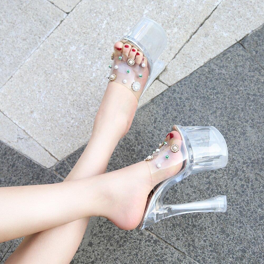 Odinokov 18cm pezuña de fiesta con tacones de diamantes de imitación zapatos de tacón alto de cristal de Pvc zapatos bombas zapatos de plataforma peep toe zapatos de mujer bombas Sexy