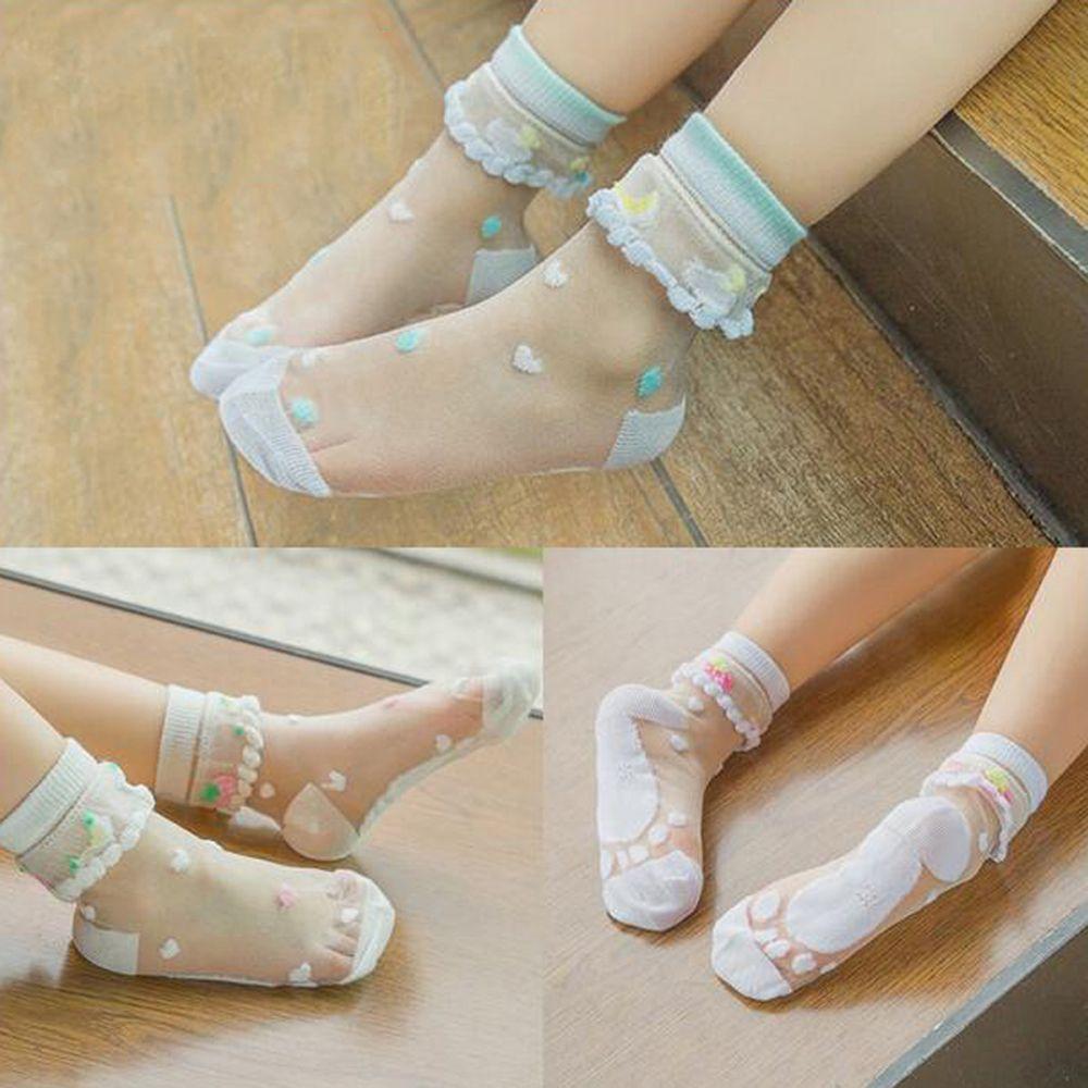 Baby Spring and Summer Children Kids Crystal Socks Crystal Socks Ultra-thin Breathable Girls Transparent Fruit Printed Baby Sock