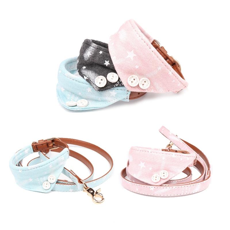 Estrellas bonitas collares para perro y mascotas de cuero Bowknot conjunto cuello de la correa de perro Bulldog/perro Collar Bandana pañuelo de correas