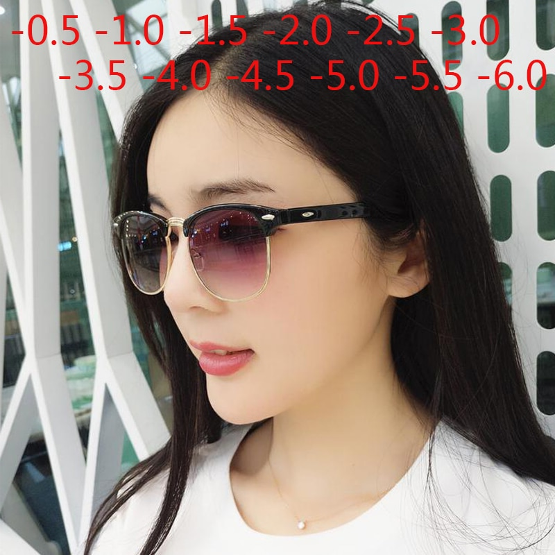 Men Women Students Myopia Sunglasses Metal Half Frame Nearsighted Gray Lens Glasses -0.5 -1 -1.5 -2