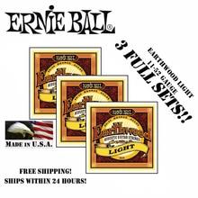 3 Packs! Original Ernie Ball 2004 Earthwood 80/20 Bronze Light Acoustic Guitar Strings Bronze Acoustic Set, .011 - .052