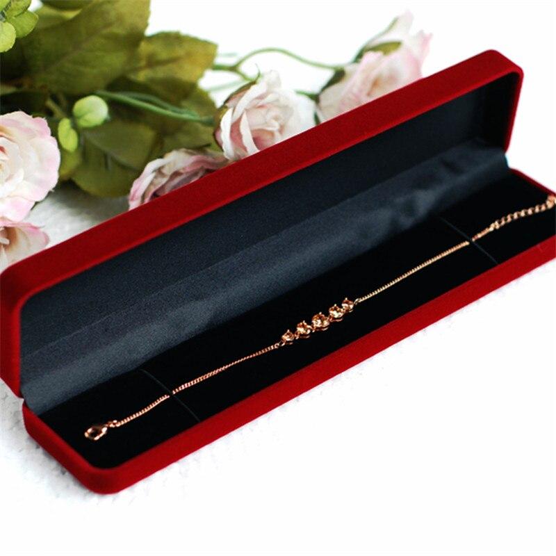 New Design High Quality 6pcs/lot 21.5*4.7*2.5cm Long Bracelet Packaging Box Velvet Wedding Necklace Display Gift Box