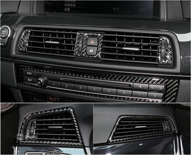 Estilo do carro De fibra de Carbono de Saída de Ar Condicionado decoração quadro decalques para BMW Série f10 f18 520 525 528 2011-17 5