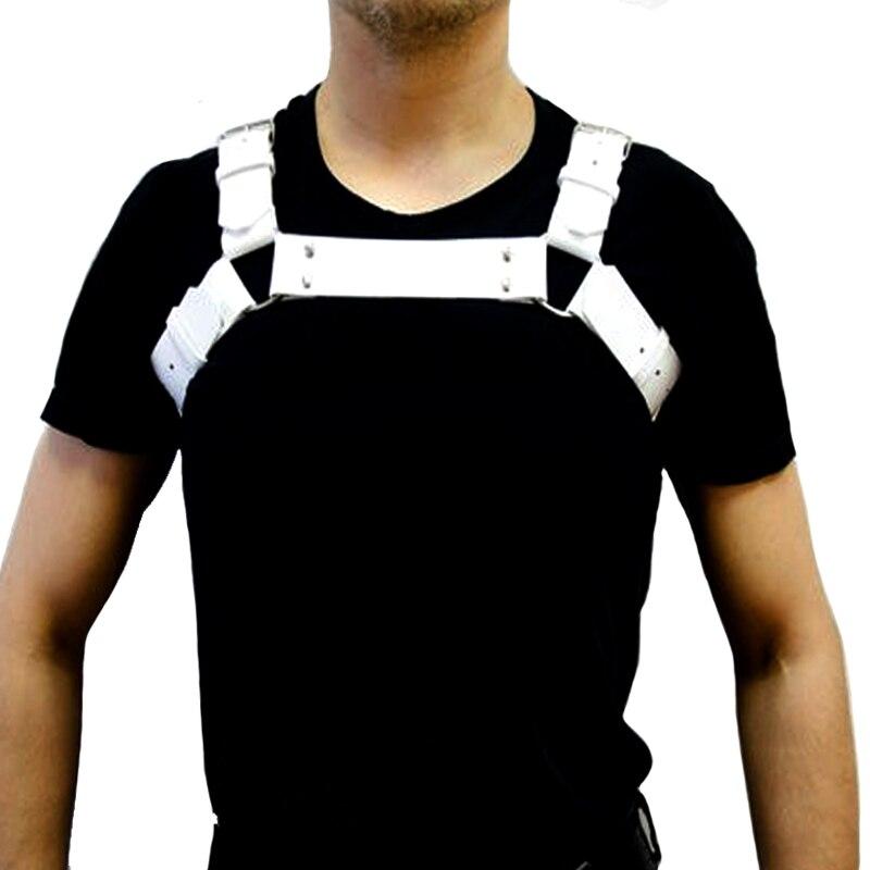 Мужской нагрудный ремень для тела, из искусственной кожи, черный, регулируемый, с о-образными кольцами