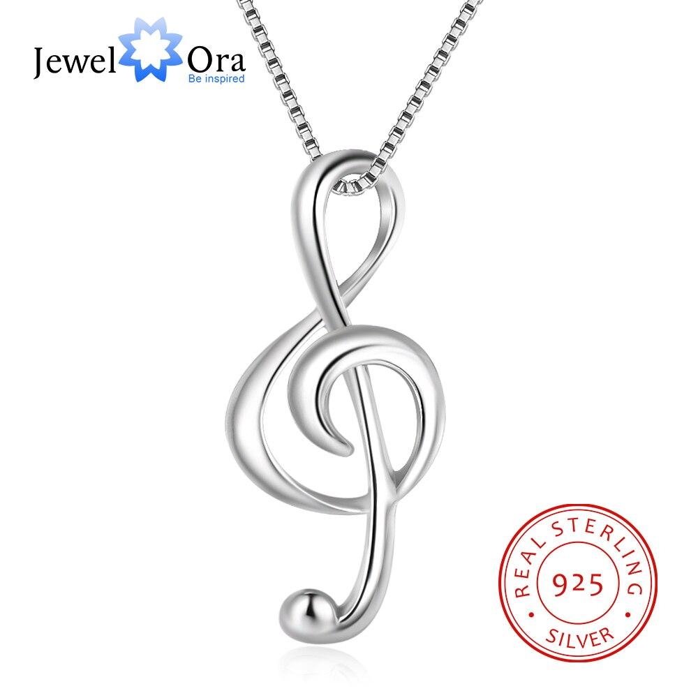 925 prata esterlina nota musical colares & pingentes pingente elegante colar feminino presentes para namorada (jewelora ne100355)