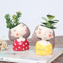 Cute cartoon little girl head like small flower pots Creative resin desktop decorative plant pots