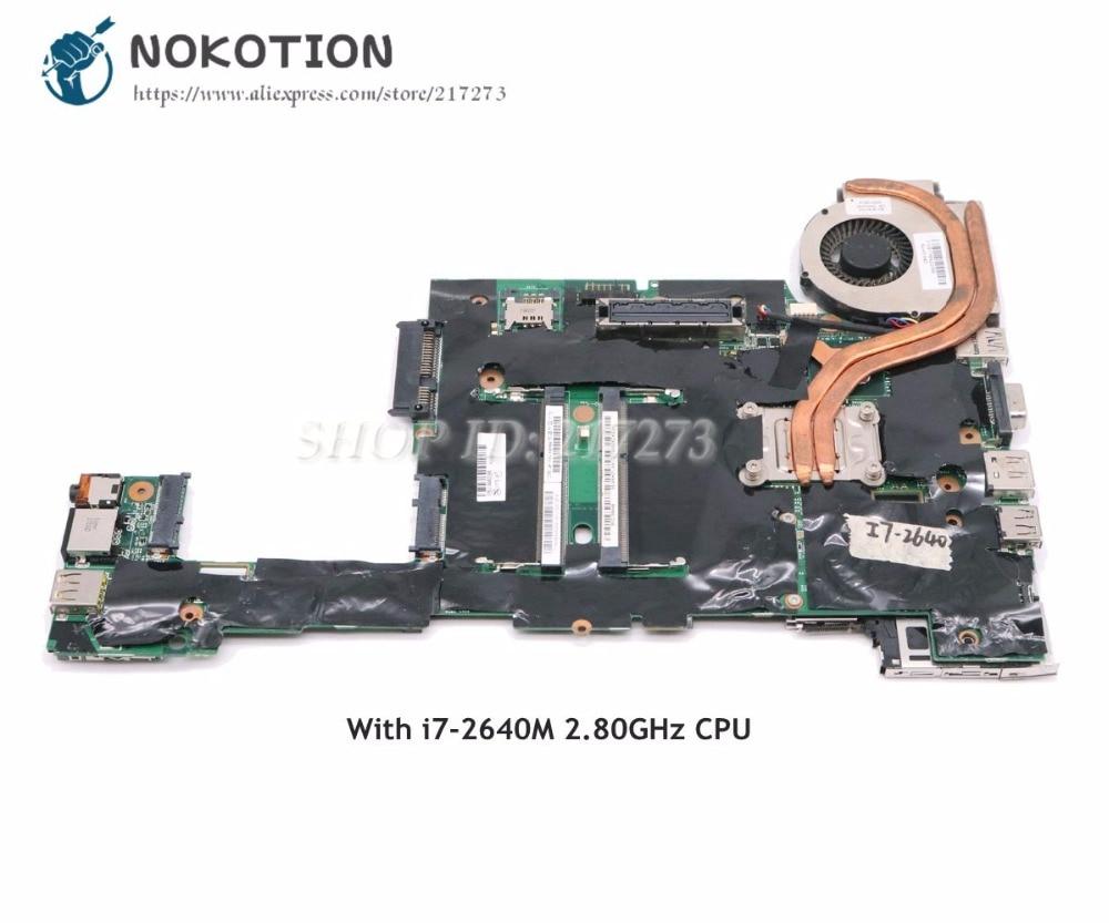 NOKOTION para Lenovo ThinkPad X220 placa base de computadora portátil 04W3386 I7-2640M 2,80 GHz CPU DDR3 HD3000 Tablero Principal